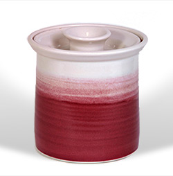 Bone china cannister #1, red/white