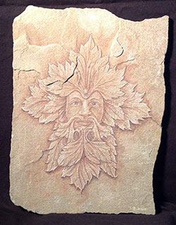 Green Man with Poppy Leaves by Richard Bulman